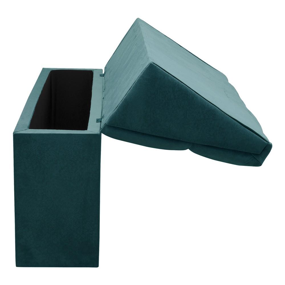 Cabeceira com baú Itália Cama Box Casal 140 cm Suede Azul Pavão D'Rossi