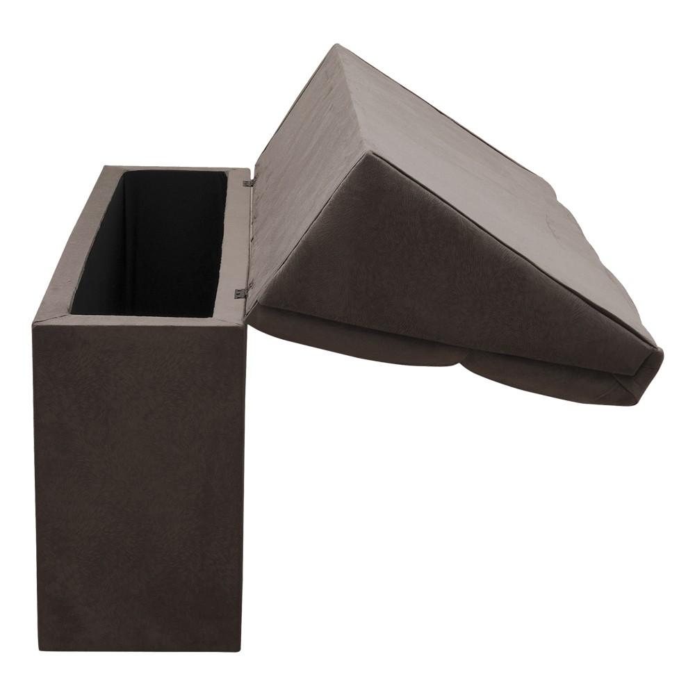 Cabeceira com baú Itália Cama Box Casal 140 cm Suede Marrom D'Rossi
