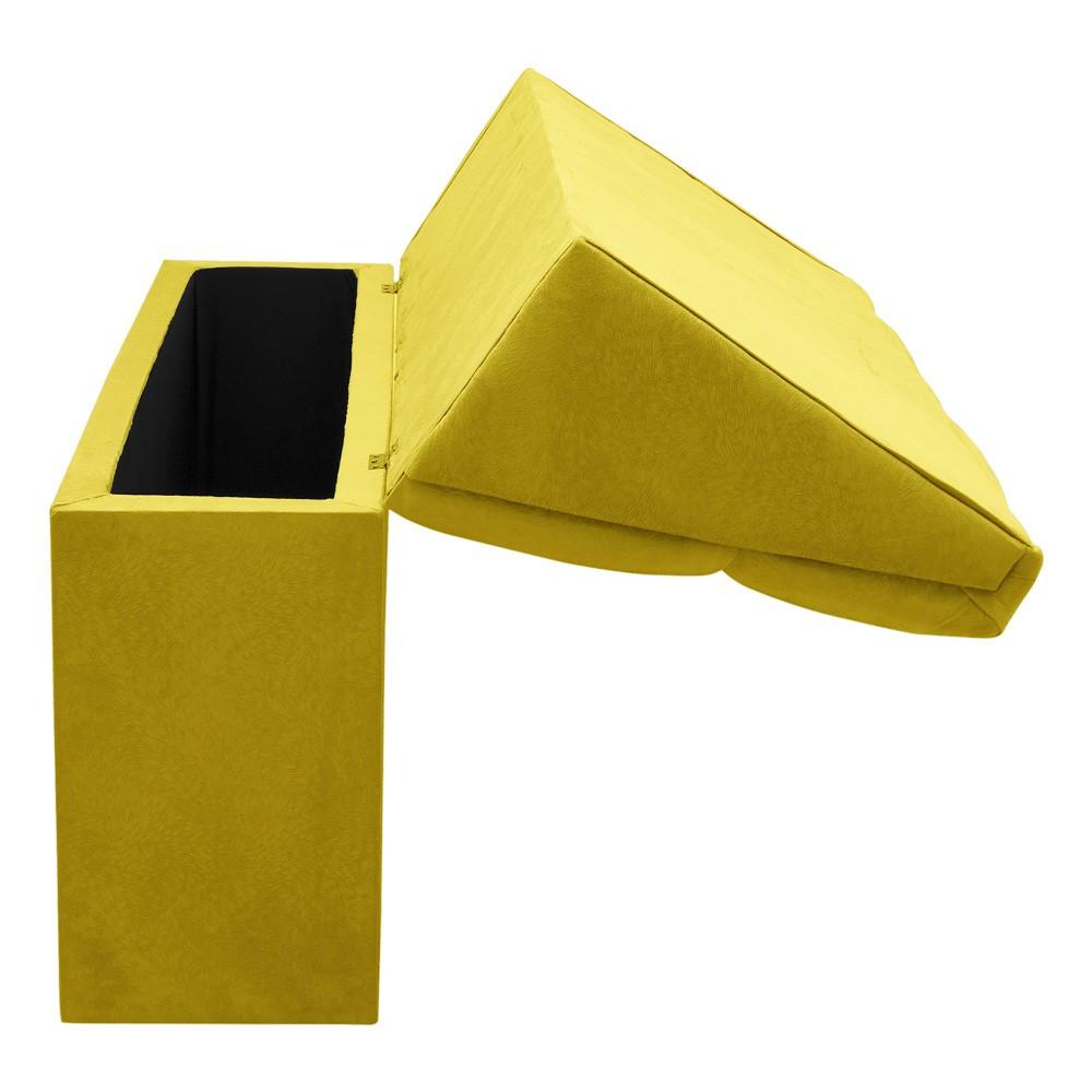 Cabeceira com baú Itália Cama Box King 195 cm Suede Amarelo D'Rossi