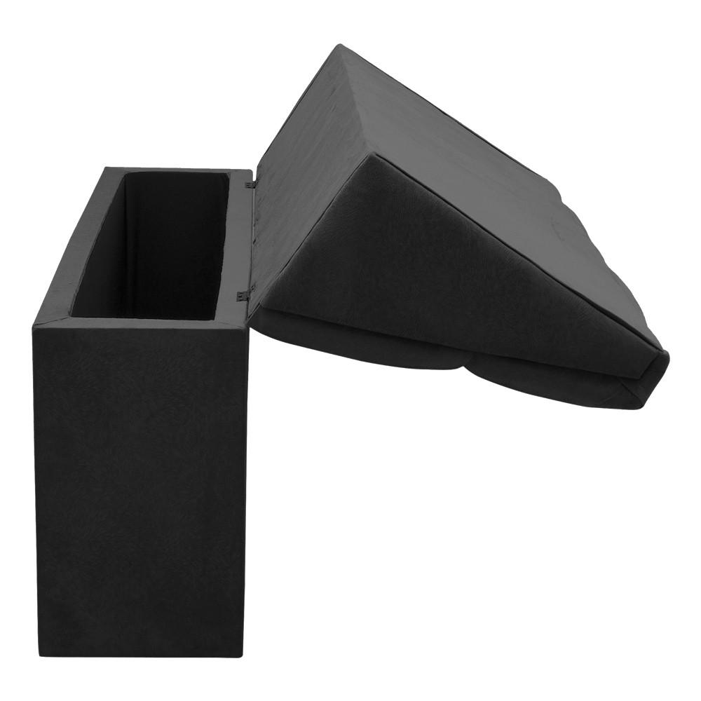 Cabeceira com baú Itália Cama Box King 195 cm Suede Preto D'Rossi