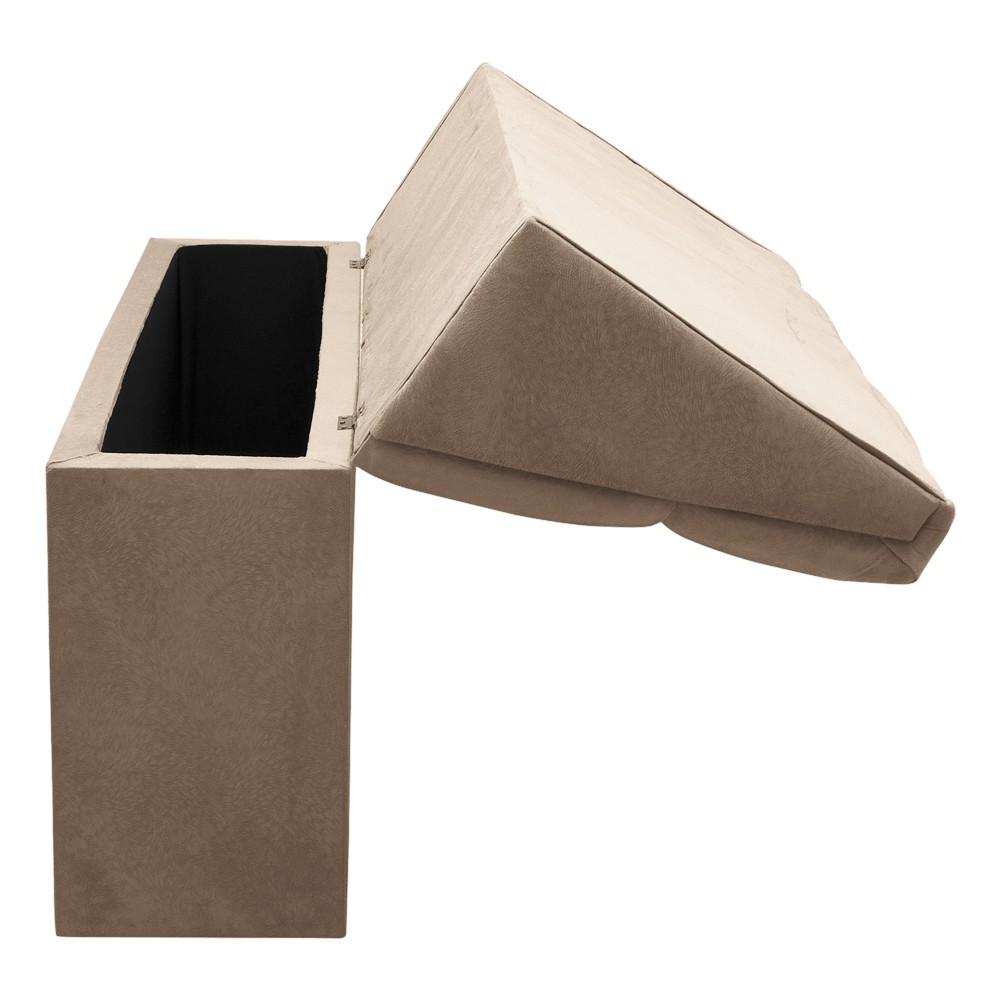 Cabeceira com baú Itália Cama Box Queen 160 cm Suede Bege D'Rossi