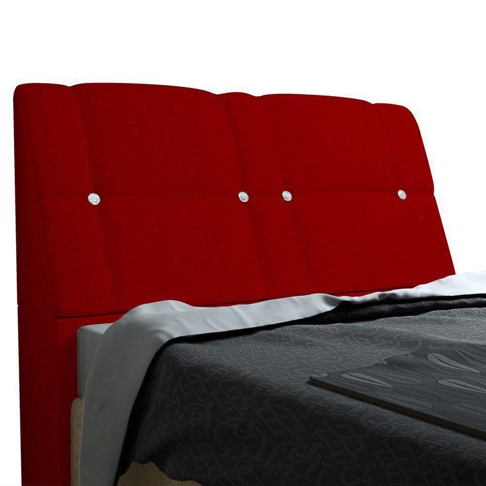 Cabeceira com baú Itália Cama Box Casal 140 cm Suede Vermelho D'Rossi