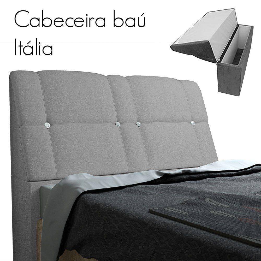 Cabeceira com Baú Itália Cama Box Queen 160 cm Suede Cinza D'Rossi