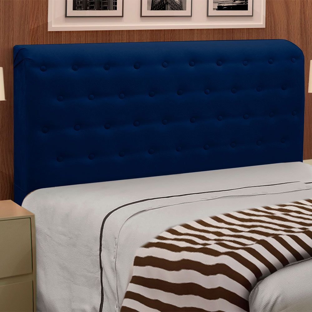 Cabeceira Giovana Cama Box Queen Casal 160 cm Suede Azul Marinho - D'Rossi