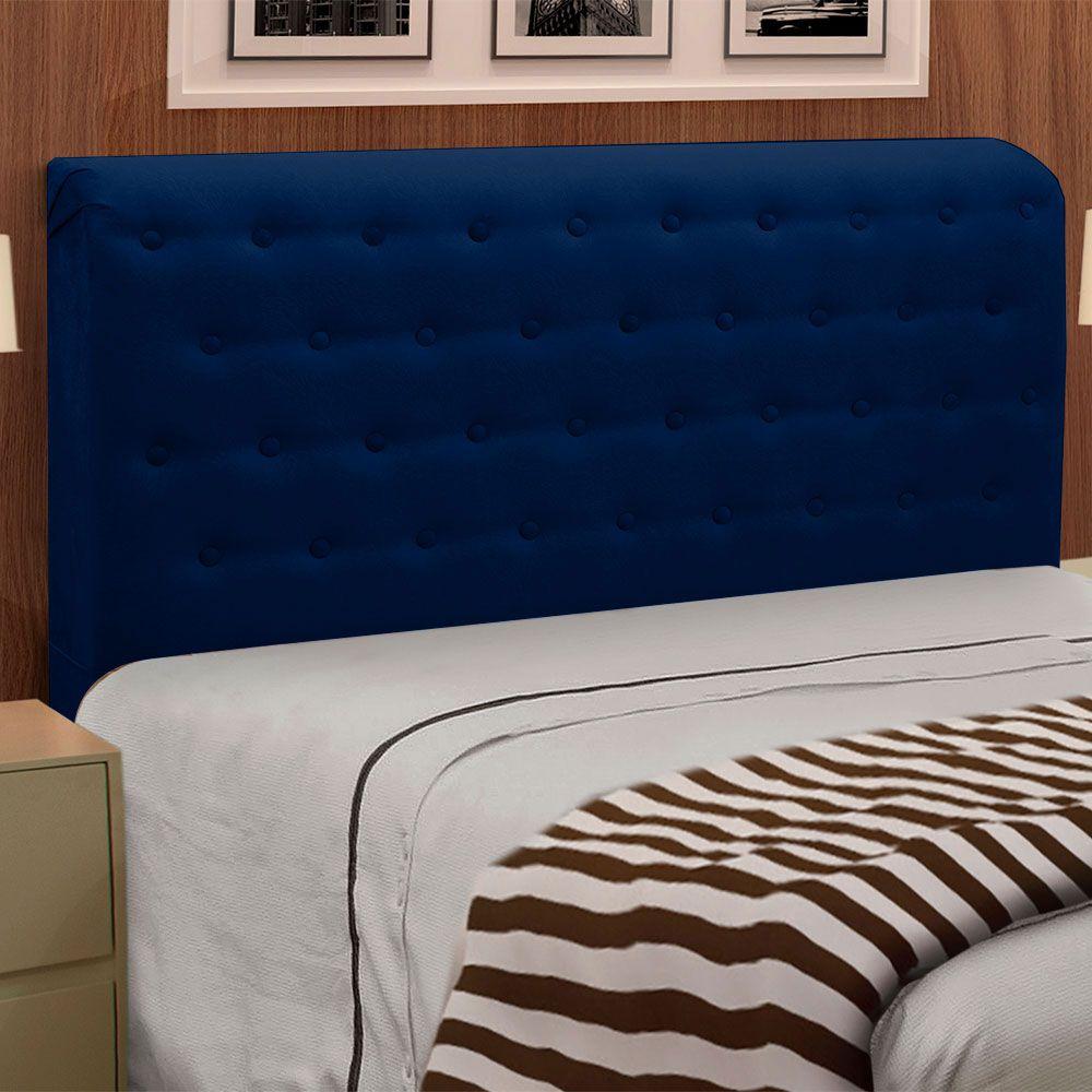 Cabeceira Giovana Cama Box King Casal 195 cm Suede Azul Marinho - D'Rossi