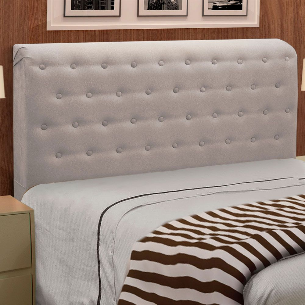 Cabeceira Giovana Cama Box King Casal 195 cm Suede Bege - D'Rossi