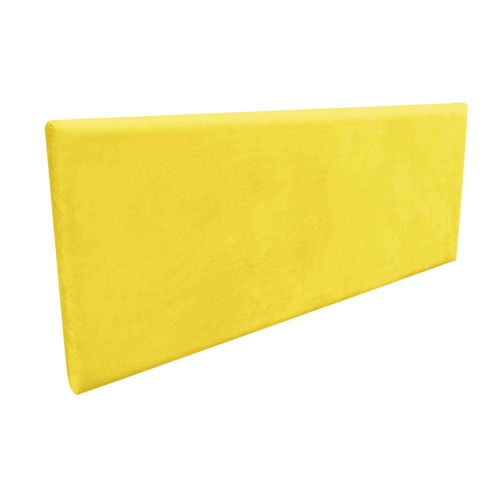 Cabeceira Painel Clean para Cama Box Casal 140 cm Suede Amarelo - D'Rossi