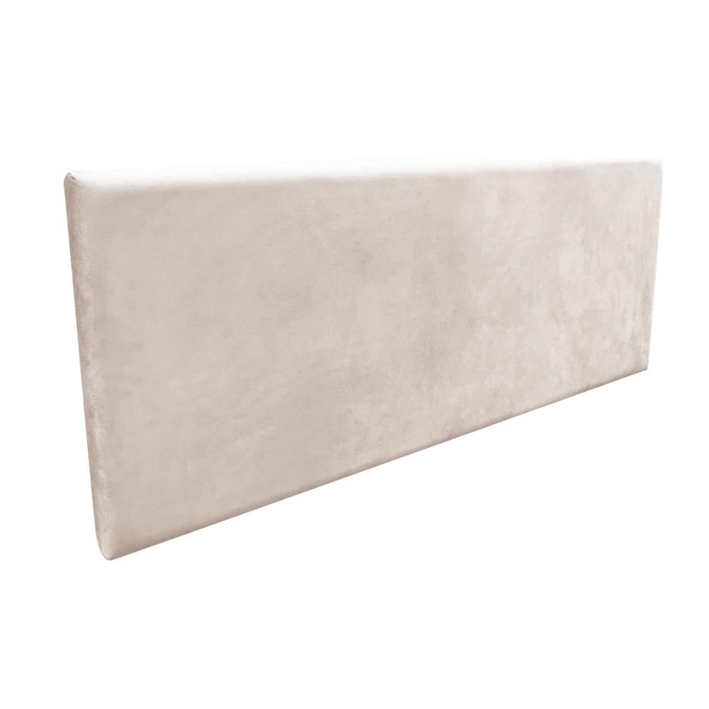 Cabeceira Painel Clean para Cama Box Solteiro 90 cm Suede Bege - D'Rossi