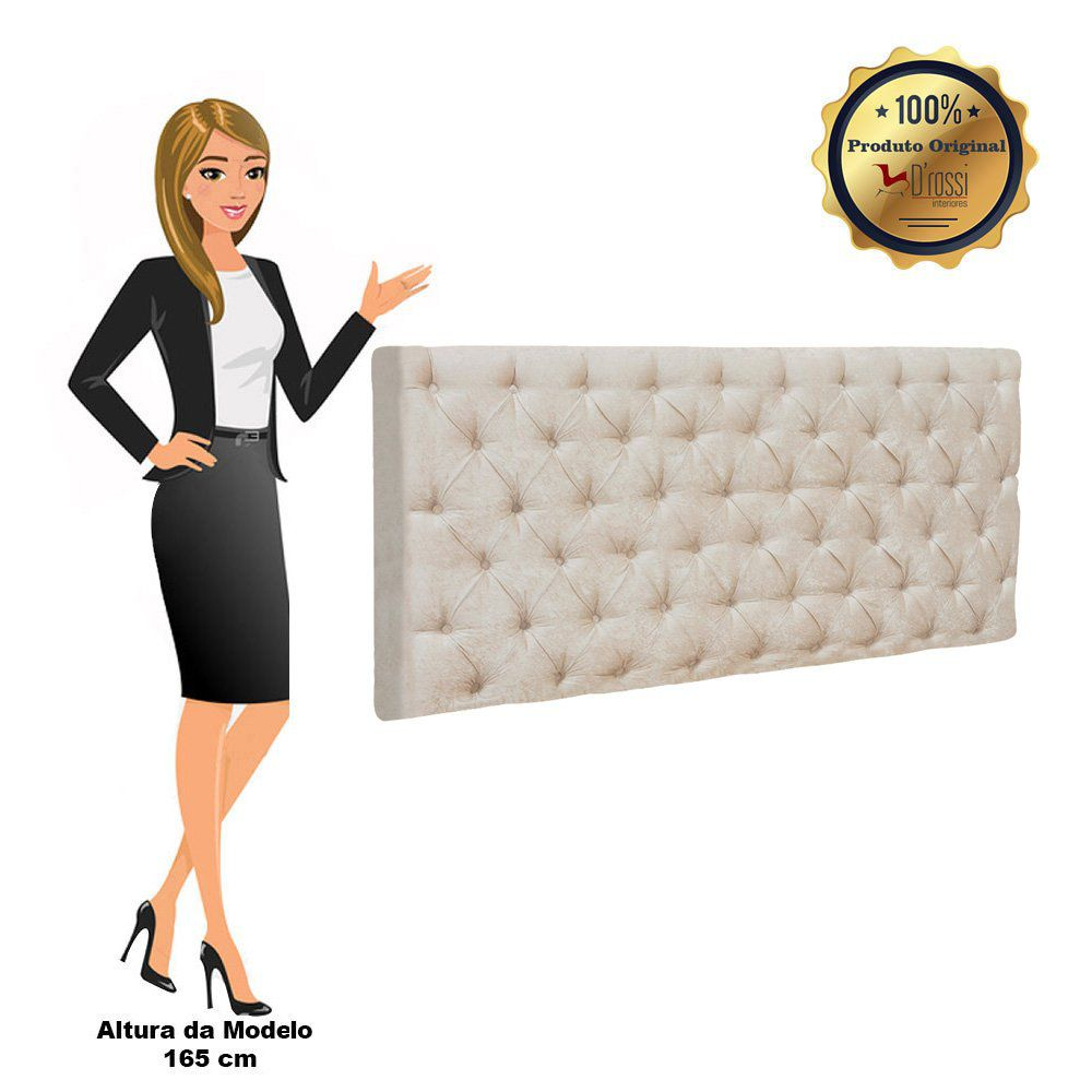 Cabeceira Painel Cristal para Cama Box Casal 1,40 m Suede Bege - D'Rossi