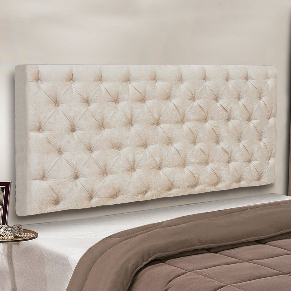 Cabeceira Painel Cristal para Cama Box Solteiro 90 cm Suede Bege - D'Rossi