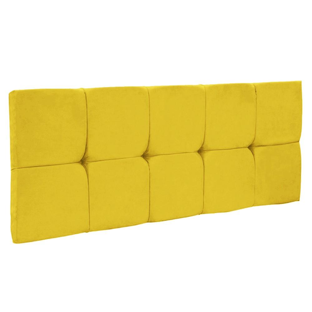 Cabeceira Painel Nina para Cama Box Casal 140 cm Suede Amarelo D'Rossi