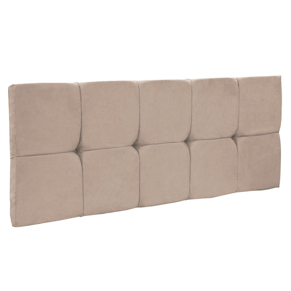 Cabeceira Painel Nina para Cama Box Casal 140 cm Suede Bege D'Rossi