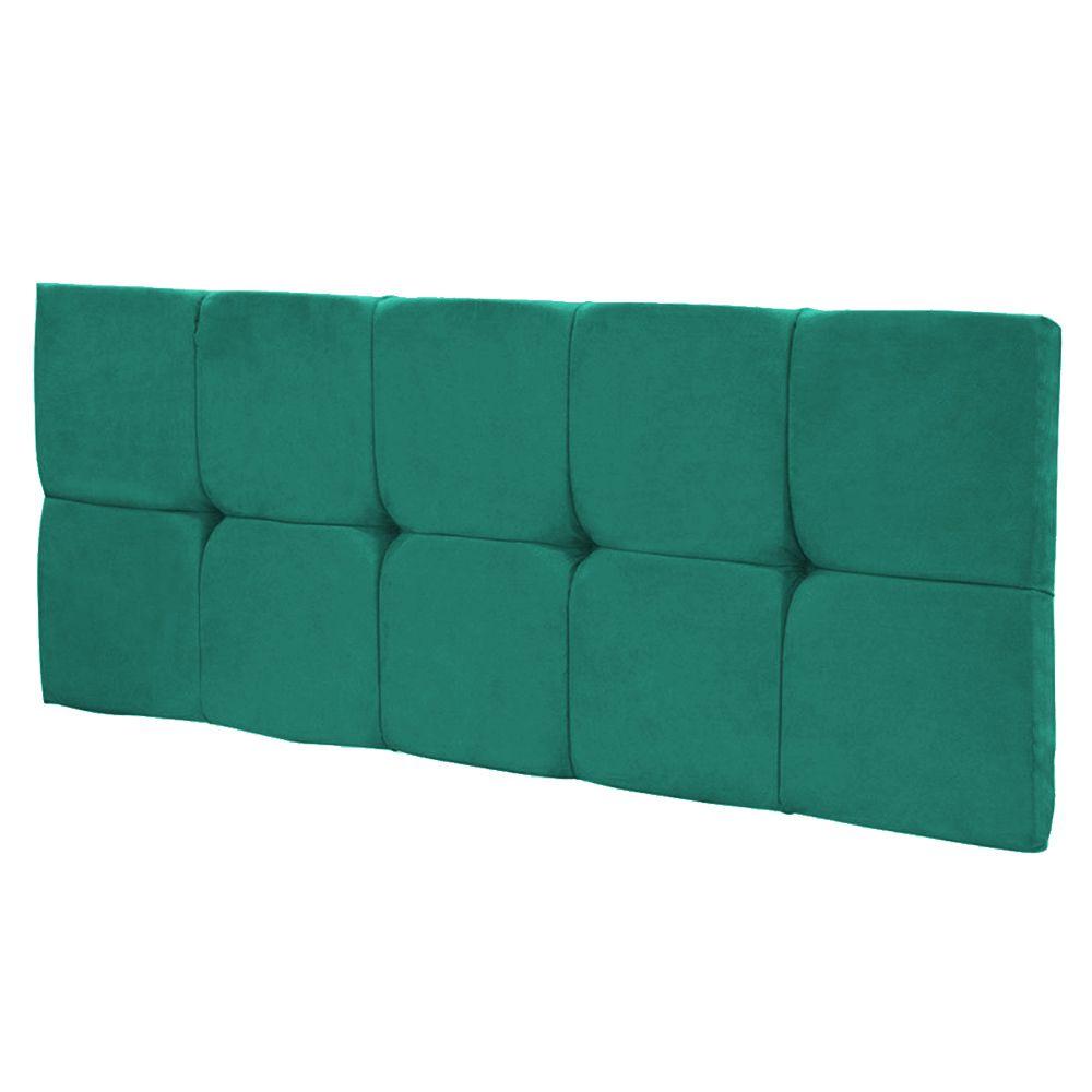 Cabeceira Painel Nina para Cama Box Casal 140 cm Suede Verde Turquesa D'Rossi