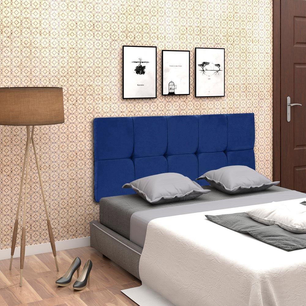 Cabeceira Painel Nina para Cama Box Casal 160 cm Suede Azul Royal D'Rossi
