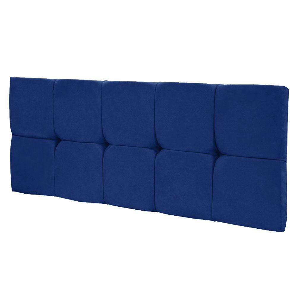 Cabeceira Painel Nina para Cama Box Solteiro 90 cm Suede Azul Royal D'Rossi