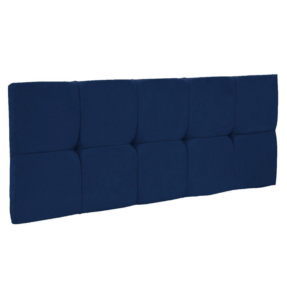 Cabeceira Painel Nina para Cama Box Solteiro 90 cm Suede Azul Marinho D'Rossi