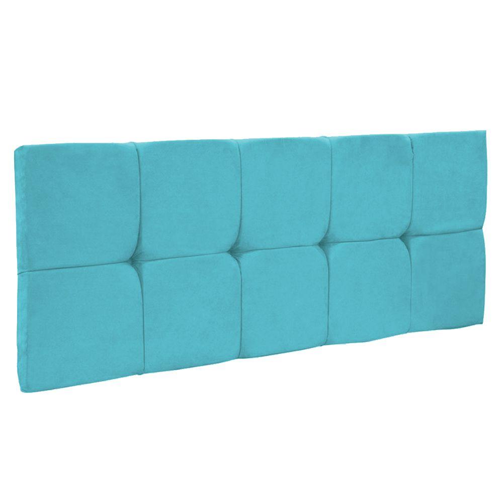 Cabeceira Painel Nina para Cama Box Solteiro 90 cm Suede Azul Turquesa D'Rossi