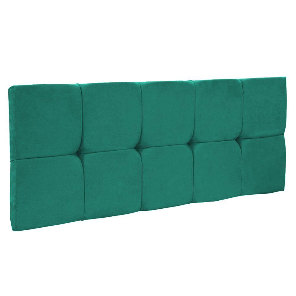 Cabeceira Painel Nina para Cama Box Solteiro 90 cm Suede Verde Turquesa D'Rossi