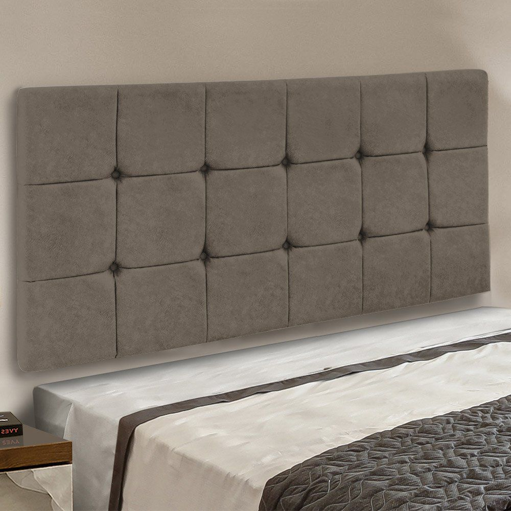 Cabeceira Painel Sleep para Cama Box Casal 1,40 m Suede Marrom Rato - D'Rossi