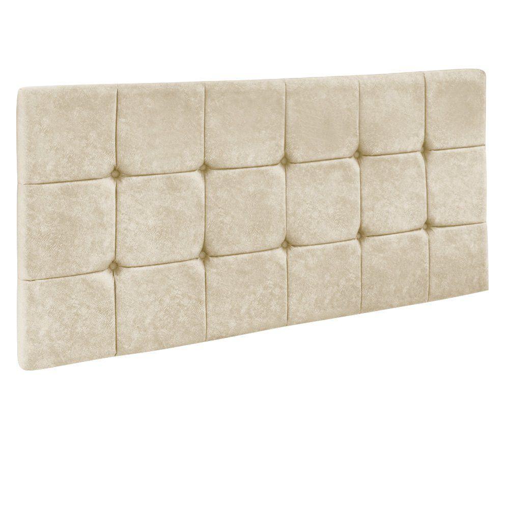 Cabeceira Painel Sleep para Cama Box Solteiro 90 cm Veludo Bege - D'Rossi