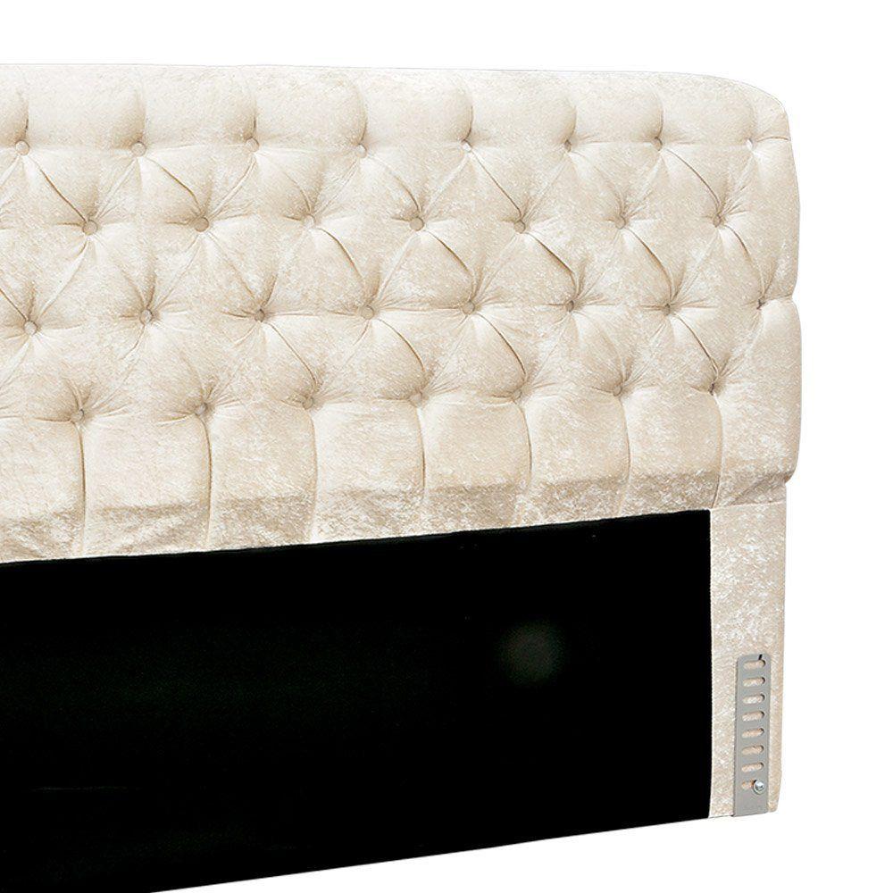 Cabeceira Paris Cama Box Solteiro 100 cm Velvet Acetinado Off-White 2622 D'Rossi