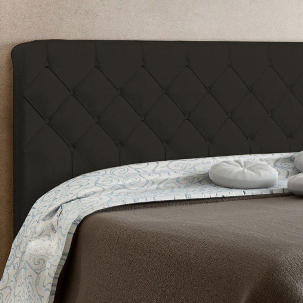 Cabeceira Paris Cama Box King 195 cm Suede Marrom D'Rossi