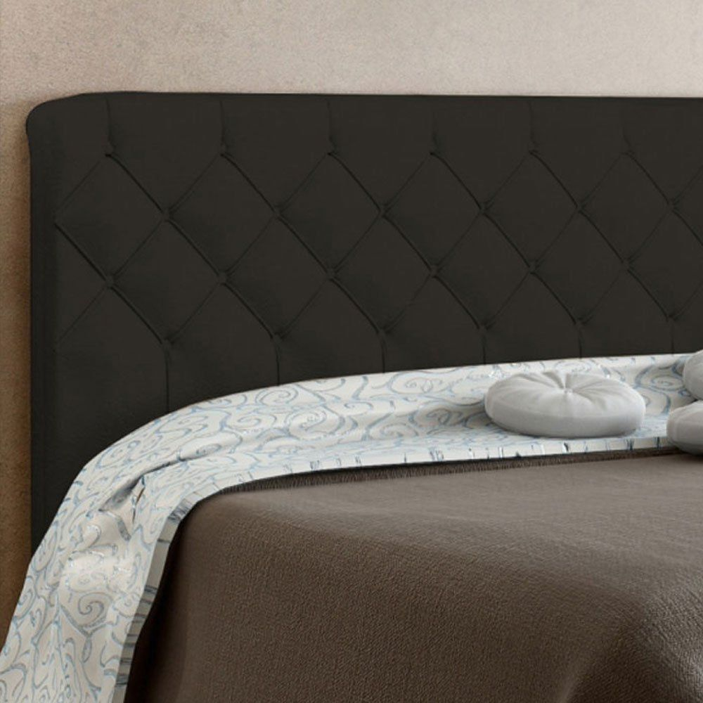 Cabeceira Paris Cama Box Solteiro 90 cm Suede Marrom D'Rossi