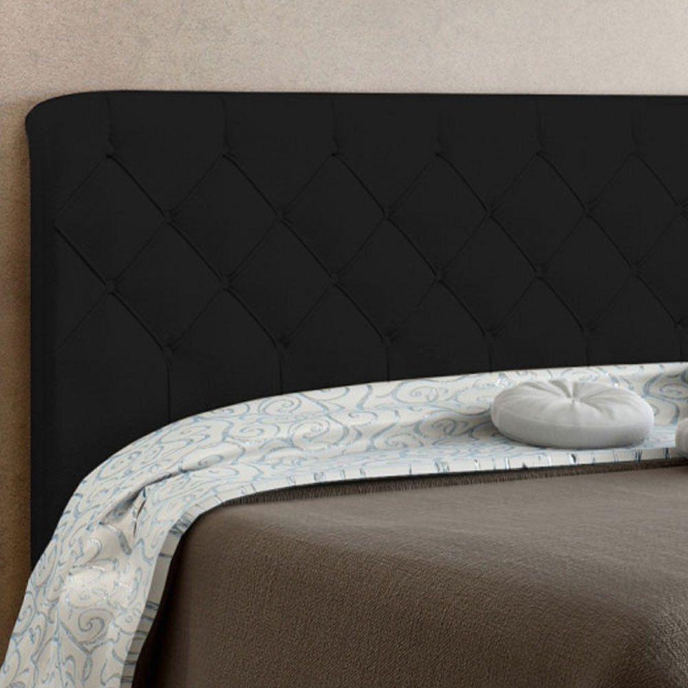 Cabeceira Paris Cama Box Solteiro 90 cm Suede Preto D'Rossi
