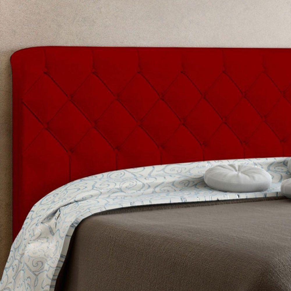 Cabeceira Paris Cama Box Solteiro 90 cm Suede Vermelho D'Rossi