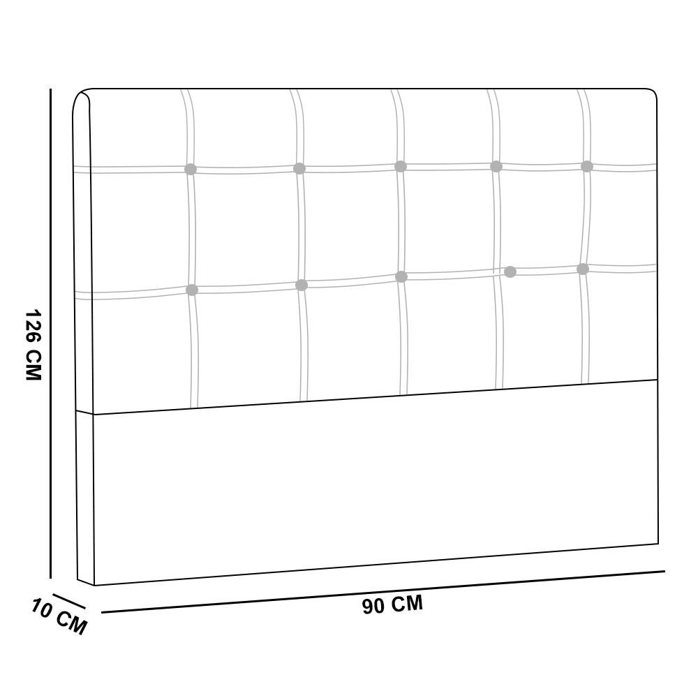 Cabeceira Tóquio para Cama Box Solteiro 90 cm Suede Preto D'Rossi