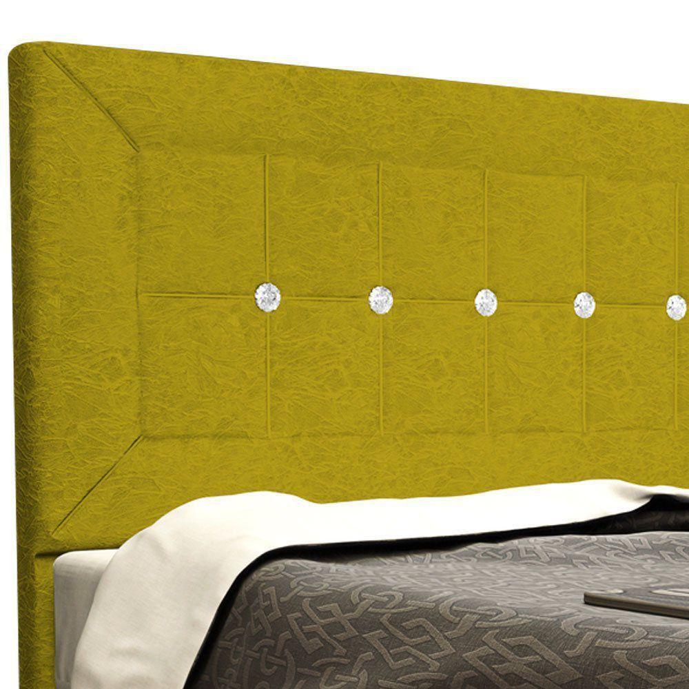 Cabeceira Vegas Cama Box Queen 160 cm Suede Nest Canário Amarelo D'Rossi