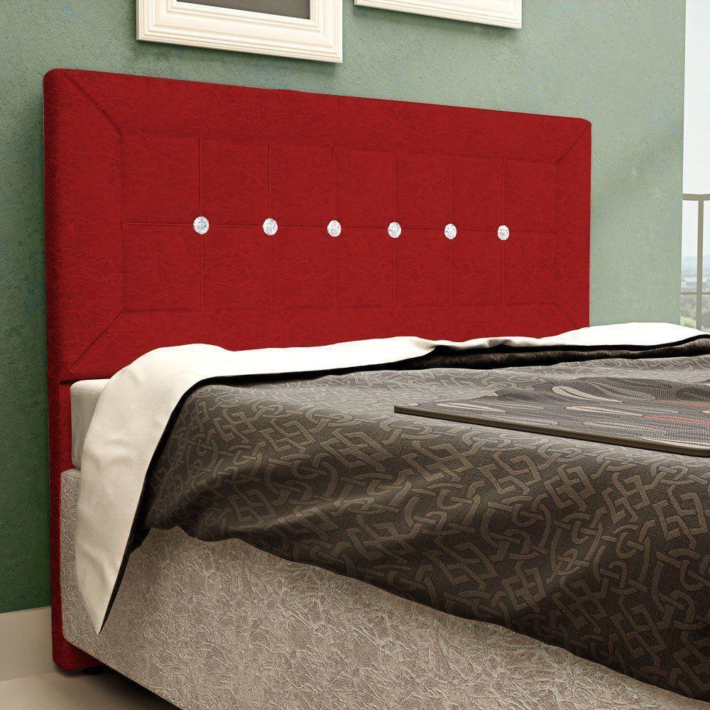 Cabeceira Vegas Cama Box King 195 cm Suede Vermelho D'Rossi
