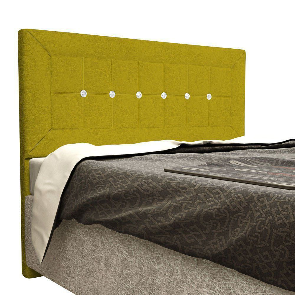 Cabeceira Vegas Cama Box Solteiro 90 cm Suede Nest Canário Amarelo D'Rossi