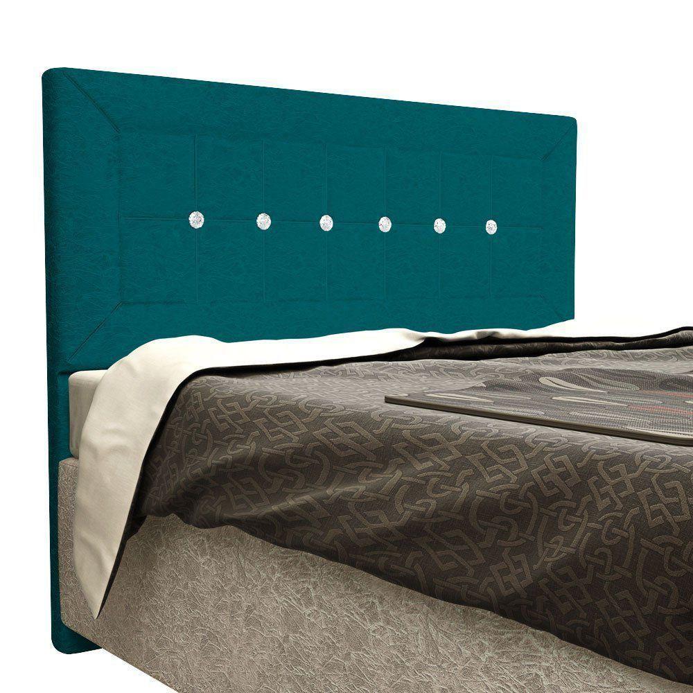 Cabeceira Vegas Cama Box Solteiro 90 cm Suede Nest Turquesa D'Rossi