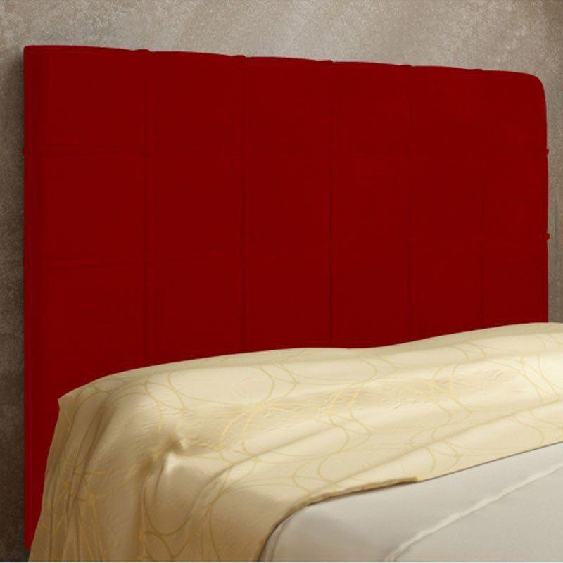 Cabeceira Veneza Cama Box Solteiro 100 cm Suede Vermelho D'Rossi