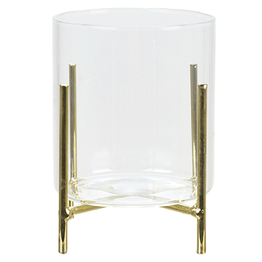 Cachepot de Vidro Com Suporte Metálico Dourado 10 cm D'Rossi