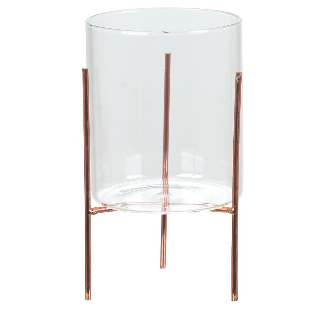 Cachepot de Vidro Com Suporte Metálico Rosê 18 cm D'Rossi