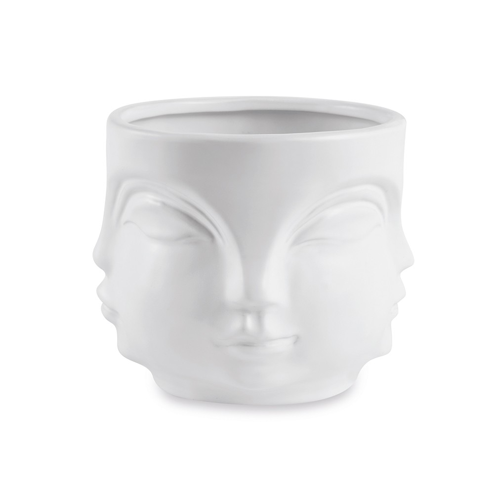 Cachepot Rosto Branco Em Cerâmica 10 x 12,5 cm D'Rossi