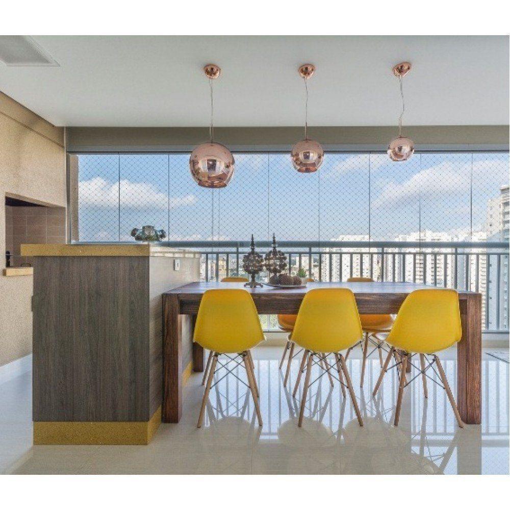 Cadeira Eiffel Charles Eames Base Madeira Sala de Jantar Amarela - D'Rossi