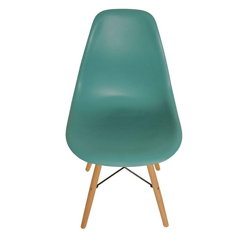 Cadeira Eiffel Charles Eames Base Madeira Sala de Jantar Azul Turquesa - D'Rossi