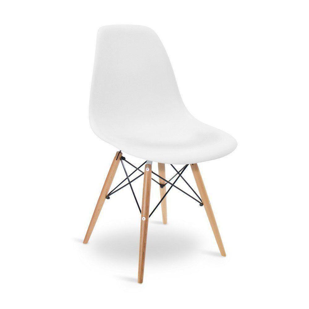 Cadeira Eiffel Charles Eames Base Madeira Sala de Jantar Branca - D'Rossi