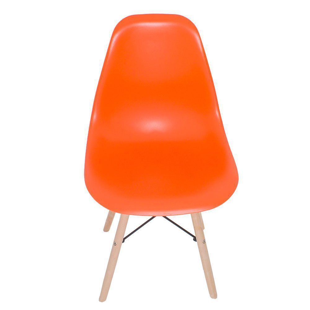 Cadeira Eiffel Charles Eames Base Madeira Sala de Jantar Laranja - D'Rossi