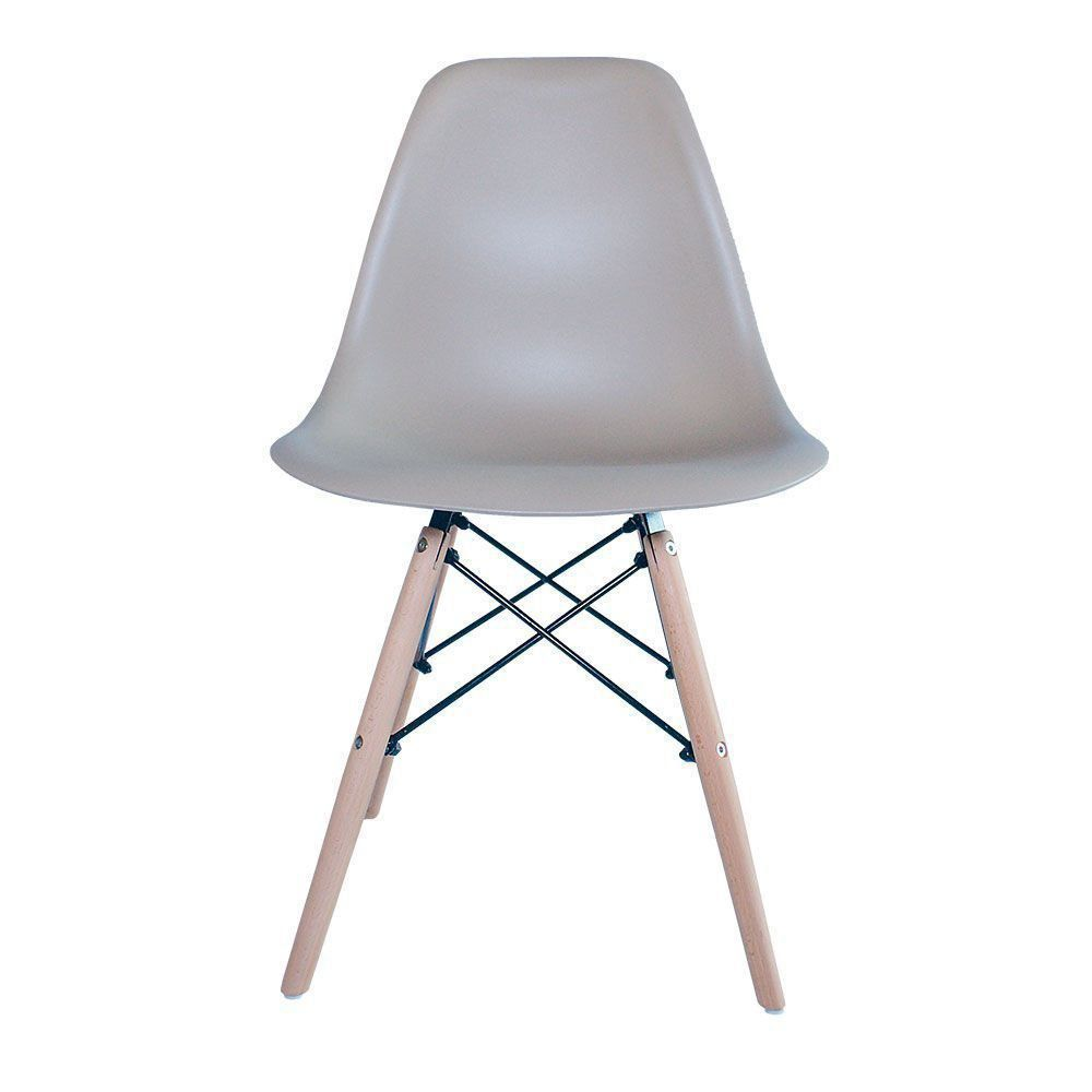 Cadeira Eiffel Charles Eames Base Madeira Sala de Jantar Nude - D'Rossi