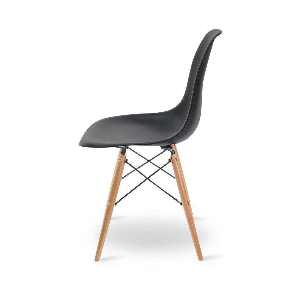 Cadeira Eiffel Charles Eames Base Madeira Sala de Jantar Preta D'Rossi