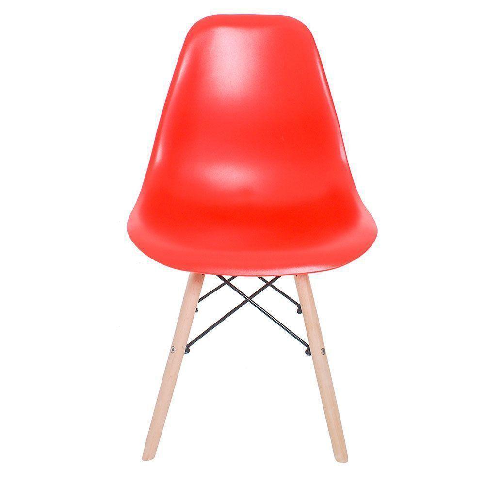 Cadeira Eiffel Charles Eames Base Madeira Sala de Jantar Vermelho - D'Rossi