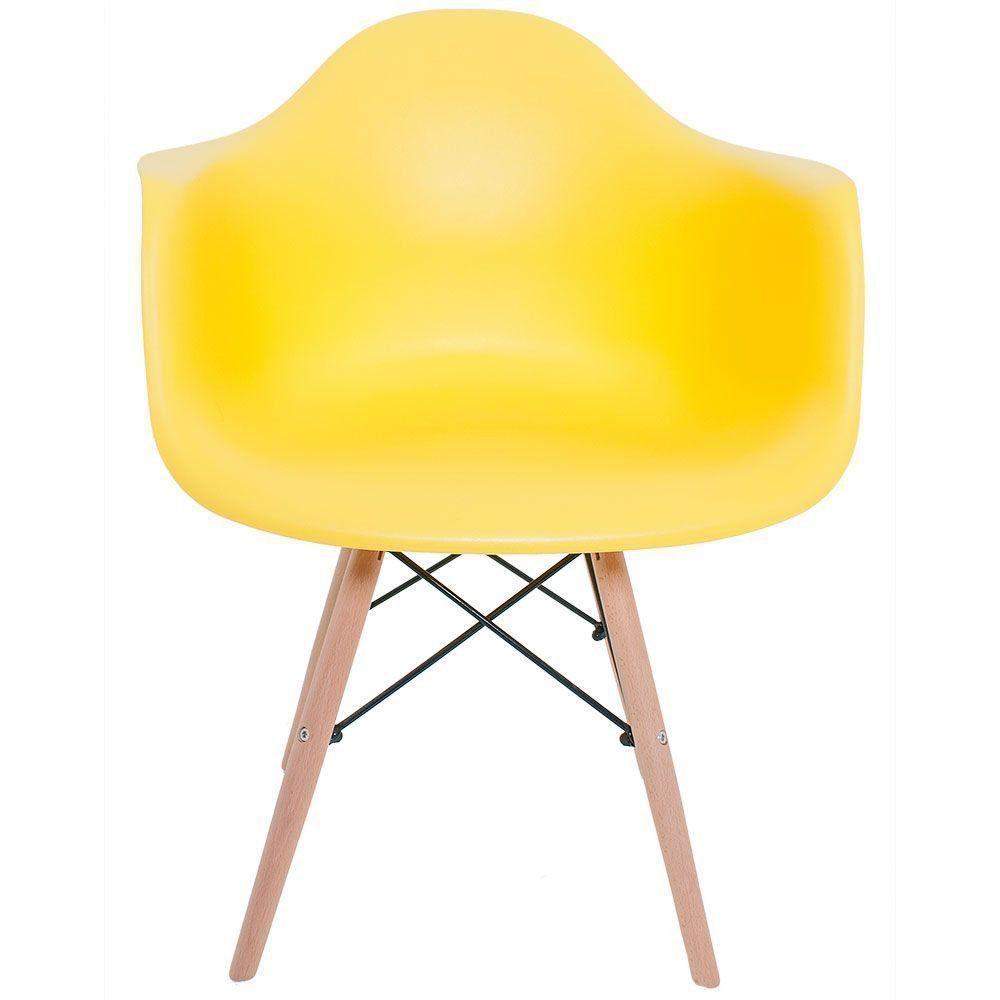 Cadeira Melbourne Eiffel Charles Eames Base Madeira - Amarelo - Factus