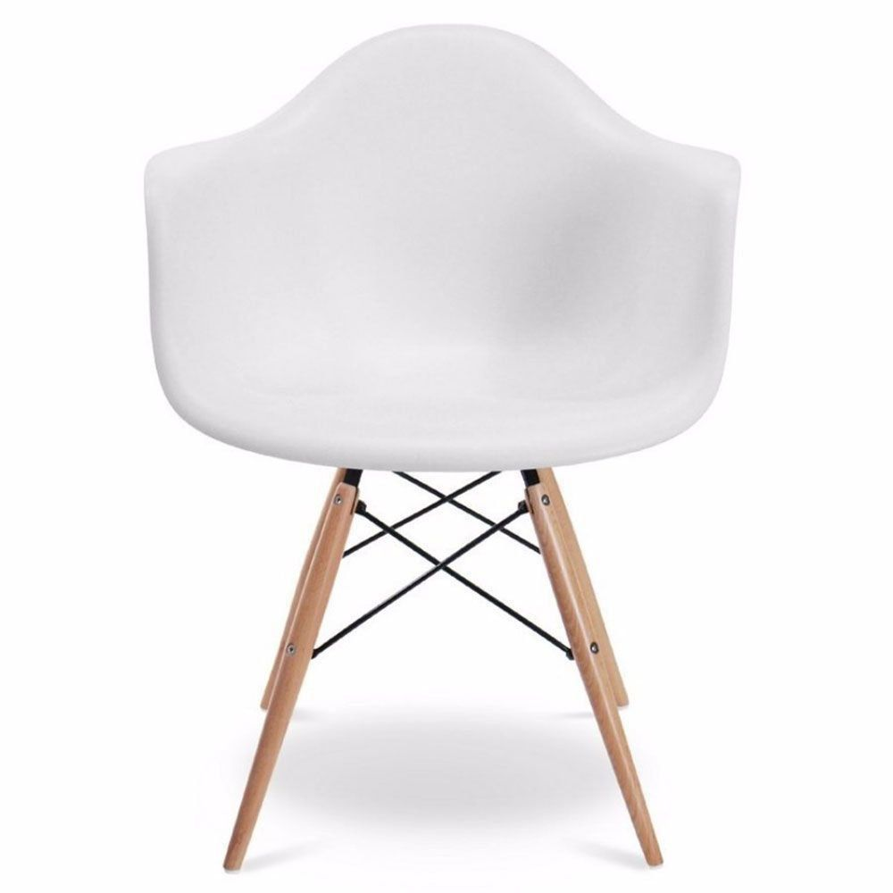 Cadeira Melbourne Eiffel Charles Eames Base Madeira - Branca - Factus