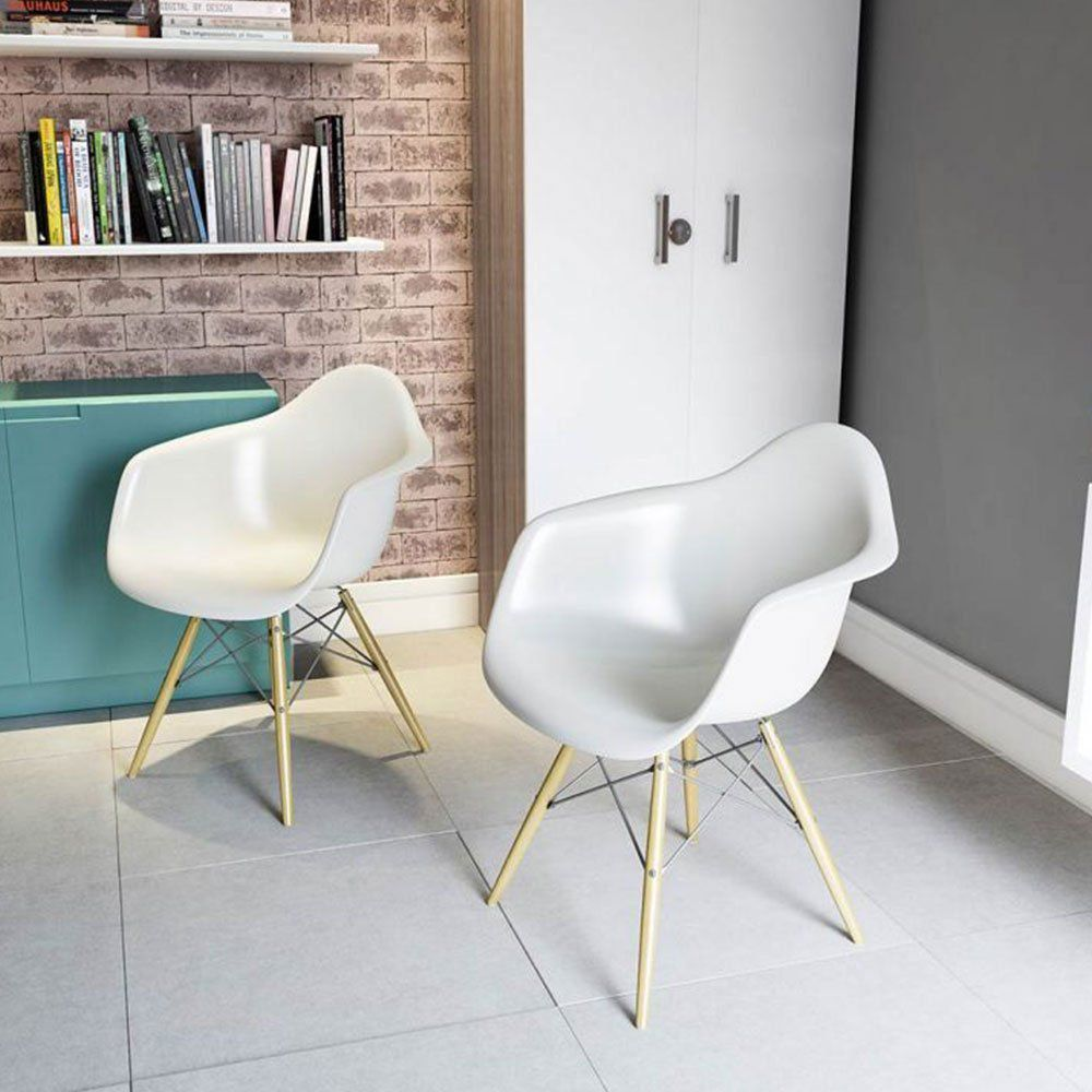 Cadeira Melbourne Eiffel Charles Eames Base Madeira - Branca - D'Rossi