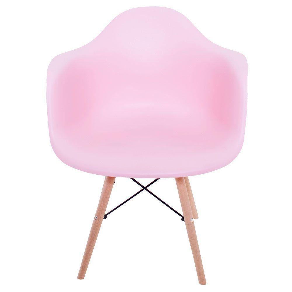 Cadeira Melbourne Eiffel Charles Eames Base Madeira - Rosa - Factus