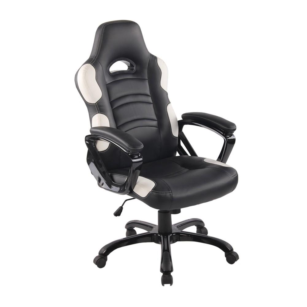 Cadeira Office Flash Preto e Branco D'Rossi